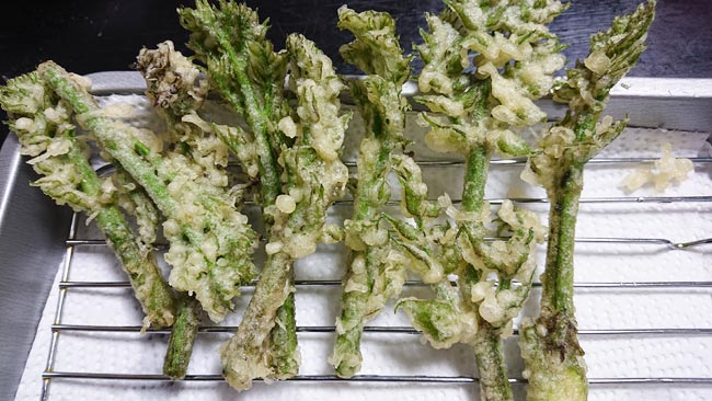 タラの芽の天ぷらをバットに取る