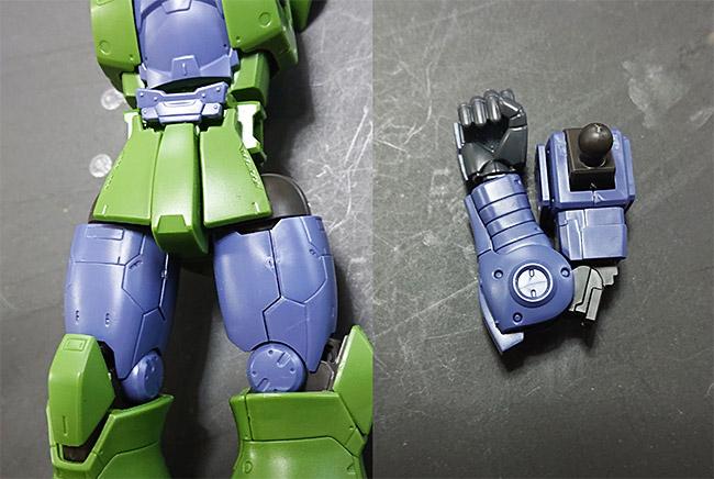 HGオリジン版 旧ザク 素組 腕、足の付け根の可動