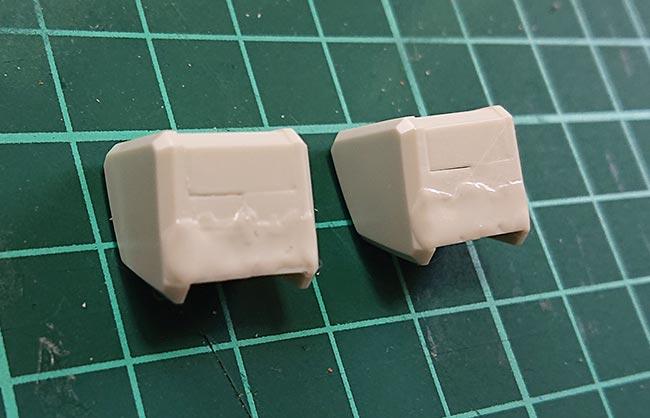 HGガンダム リバイブ 肩の抉れ部分にランナーパテを塗布