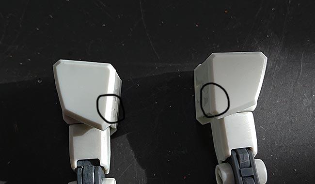 HGガンダム リバイブ 抉れ部分をランナーパテで整形