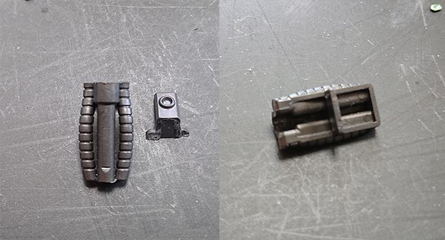 HGギラドーガ 左:てっぺんを切り離し 右:横板を短くカット