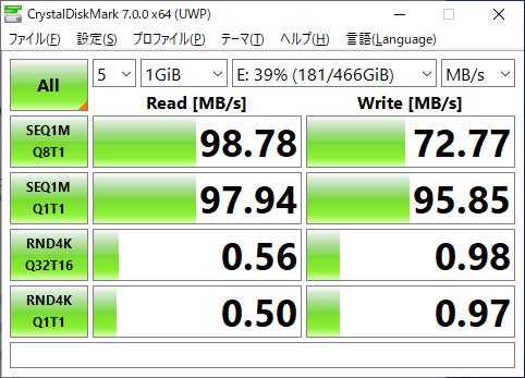 測定②USB3.0の転送速度