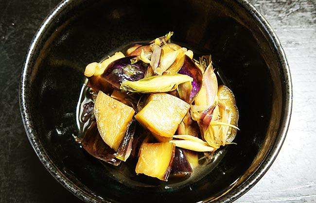 ナスとミョウガの簡単煮物 出来上がり