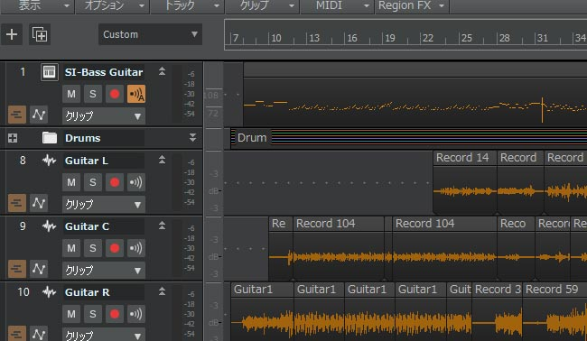 Sonar 画面 MIDIをオーディオに変換
