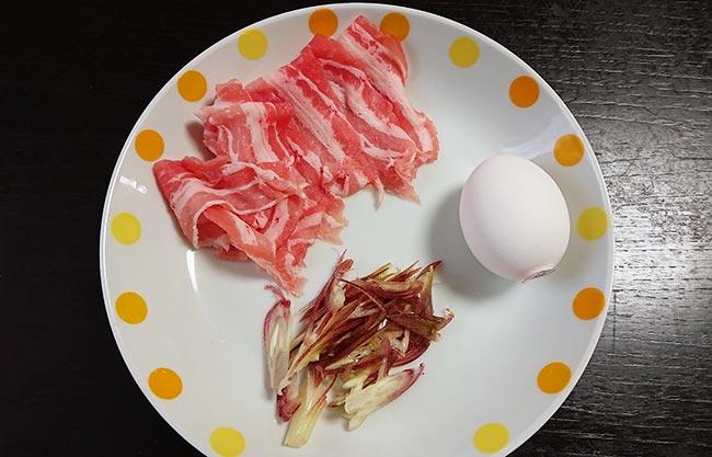 豚バラ肉 卵 ミョウガ