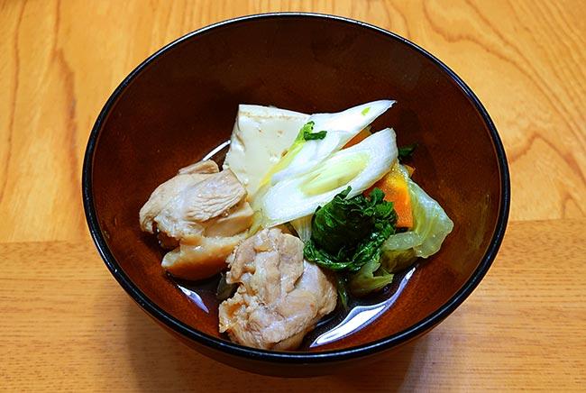 普通のお鍋をポン酢で食べる