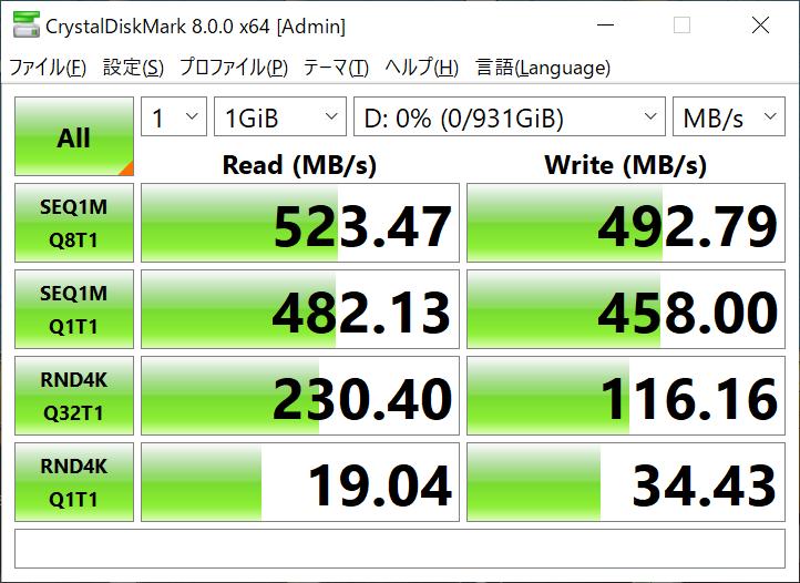 SSDのCrystalDiskMark